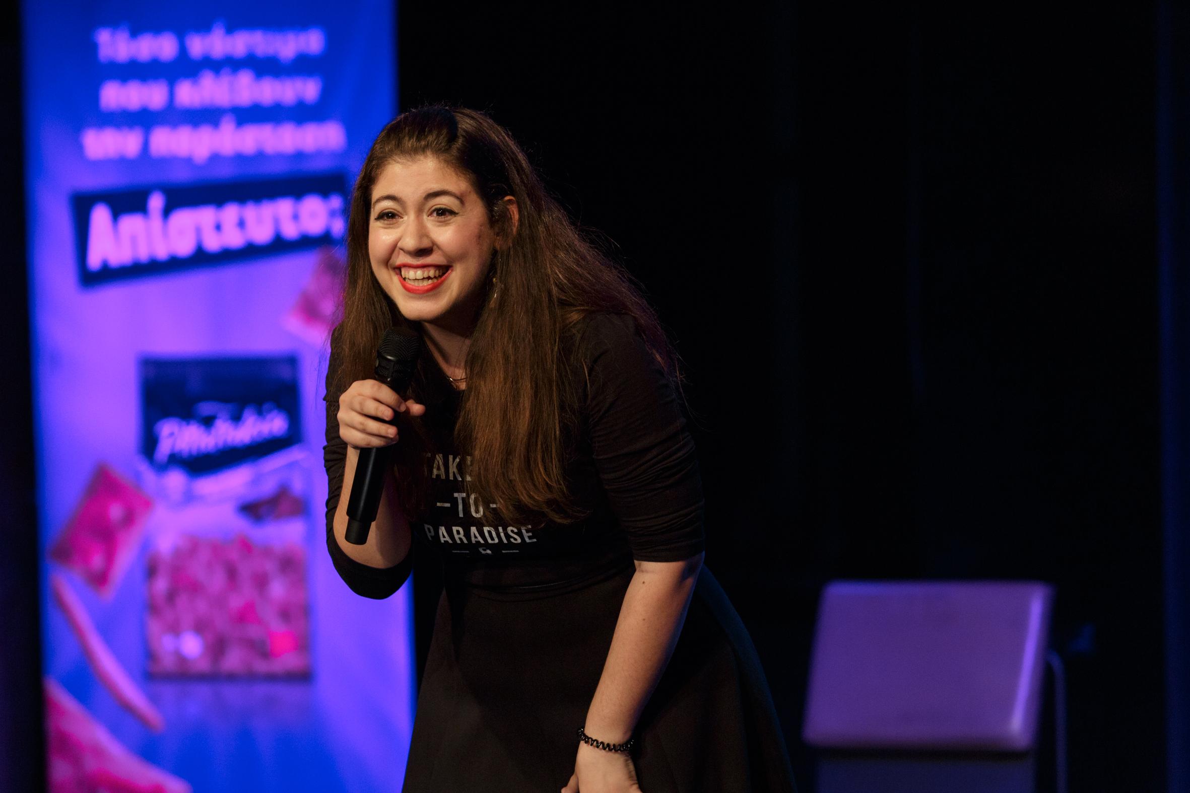 Aliki Tsakoumi performing at Athens international comedy festival
